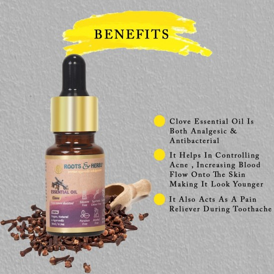 Clove Essential Oil for Aromatherapy, Dental Care, Skin Care, Relieves Stress, Headaches, Respiratory Problems, Nausea