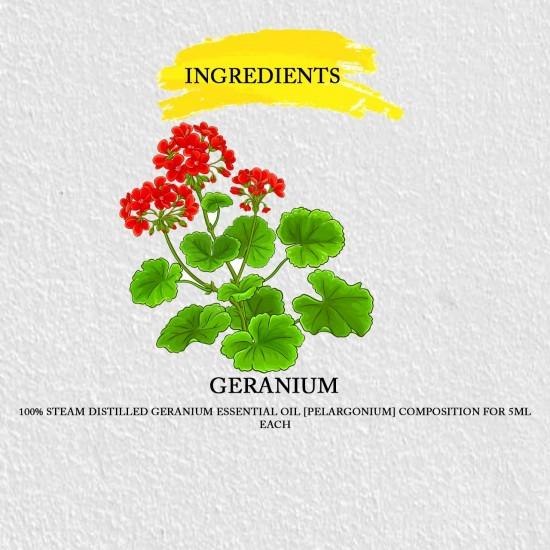 Geranium Essential Oil for Aromatherapy, Hormonal Balance, Skin Care, Relieves Stress, Depression, Inflammation