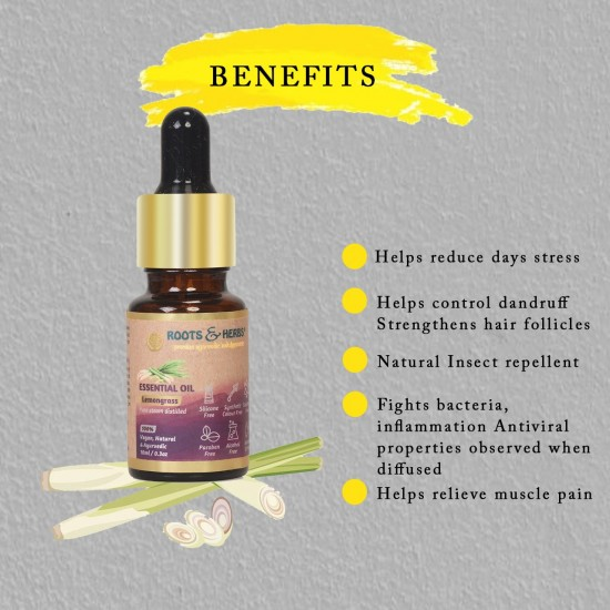 Lemongrass Essential Oil for Aromatherapy, Skin Care, Relieves Stress, Depression, Jet Lag, Cellulite Condition | Insect-Repellant