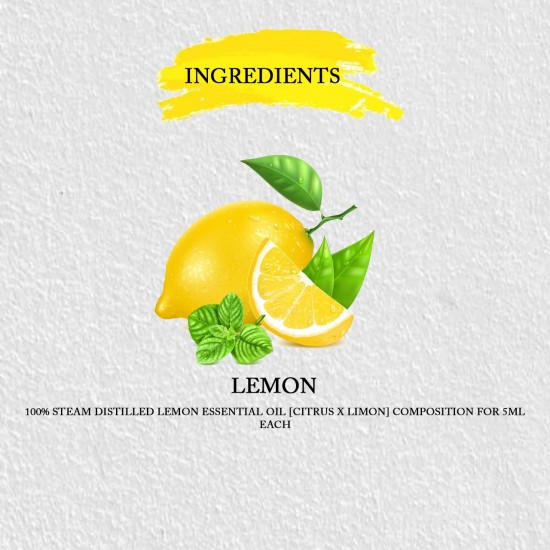 Lemon Essential Oil for Aromatherapy, Skin Care, Relieves Stress, Depression | Antibiotic Antiseptic
